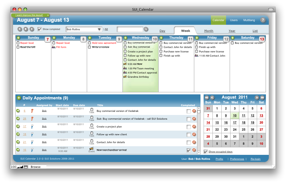 SUI Calendar - SUI Solutions  FileMaker Templates